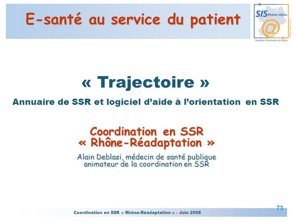 Coordination en SSR « Rhône-Réadaptation » - Juin 2008 73 « Trajectoire » Annuaire de SSR et logiciel daide à lorientation en SSR Coordination en SSR