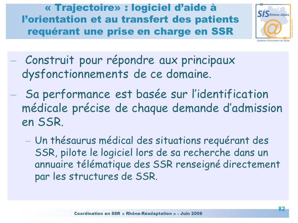 Coordination en SSR « Rhône-Réadaptation » - Juin 2008 82 « Trajectoire» : logiciel daide à lorientation et au transfert des patients requérant une pr