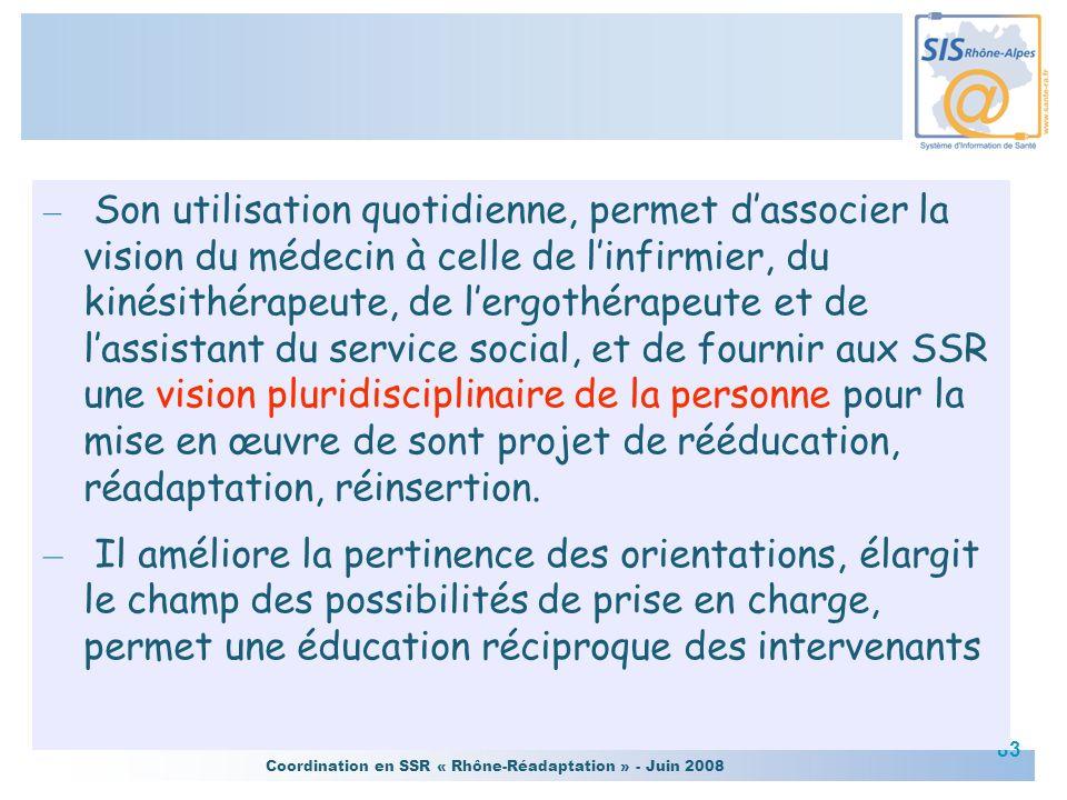 Coordination en SSR « Rhône-Réadaptation » - Juin 2008 83 – Son utilisation quotidienne, permet dassocier la vision du médecin à celle de linfirmier,