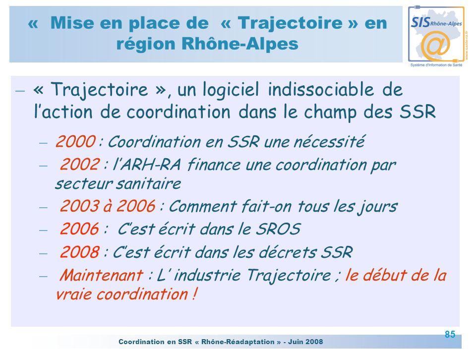 Coordination en SSR « Rhône-Réadaptation » - Juin 2008 85 – « Trajectoire », un logiciel indissociable de laction de coordination dans le champ des SS