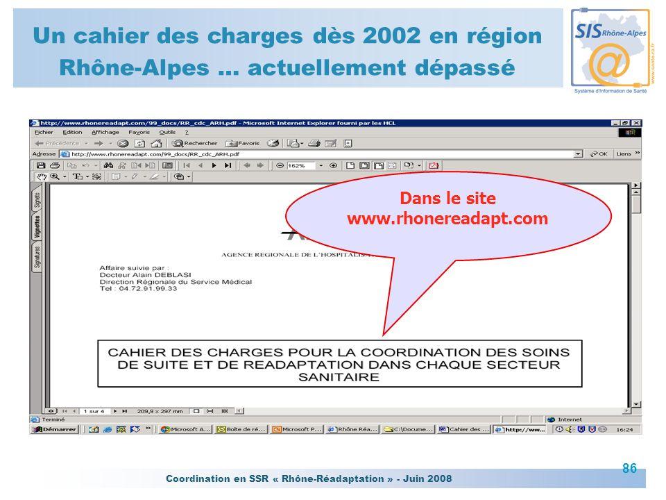 Coordination en SSR « Rhône-Réadaptation » - Juin 2008 86 Dans le site www.rhonereadapt.com Un cahier des charges dès 2002 en région Rhône-Alpes … act