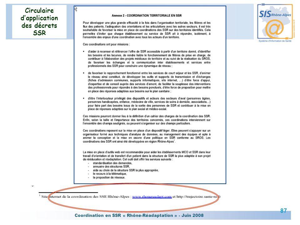 Coordination en SSR « Rhône-Réadaptation » - Juin 2008 87 Circulaire dapplication des décrets SSR