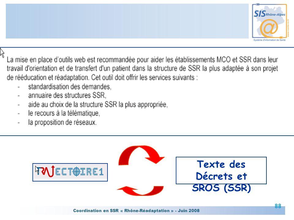 Coordination en SSR « Rhône-Réadaptation » - Juin 2008 88 Texte des Décrets et SROS (SSR)