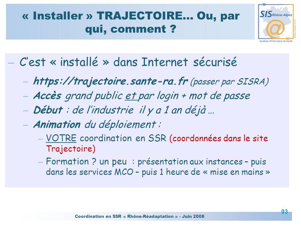 Coordination en SSR « Rhône-Réadaptation » - Juin 2008 93 « Installer » TRAJECTOIRE… Ou, par qui, comment ? – Cest « installé » dans Internet sécurisé