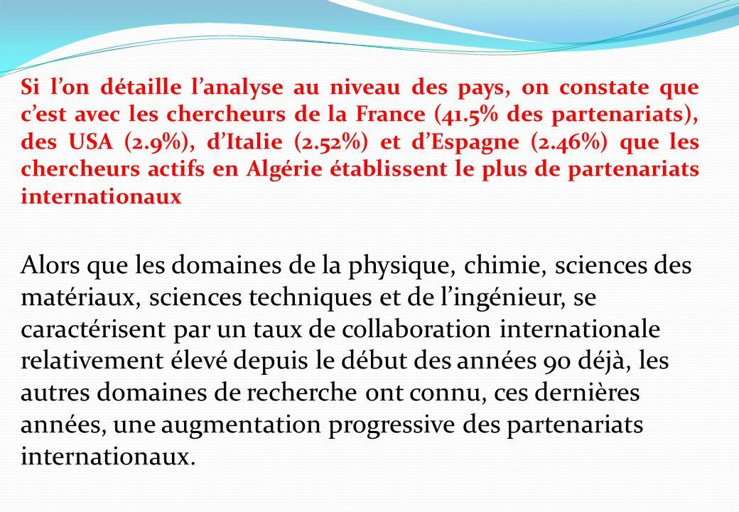 Si lon détaille lanalyse au niveau des pays, on constate que cest avec les chercheurs de la France (41.5% des partenariats), des USA (2.9%), dItalie (