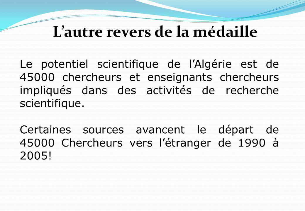 Lautre revers de la médaille Le potentiel scientifique de lAlgérie est de 45000 chercheurs et enseignants chercheurs impliqués dans des activités de r