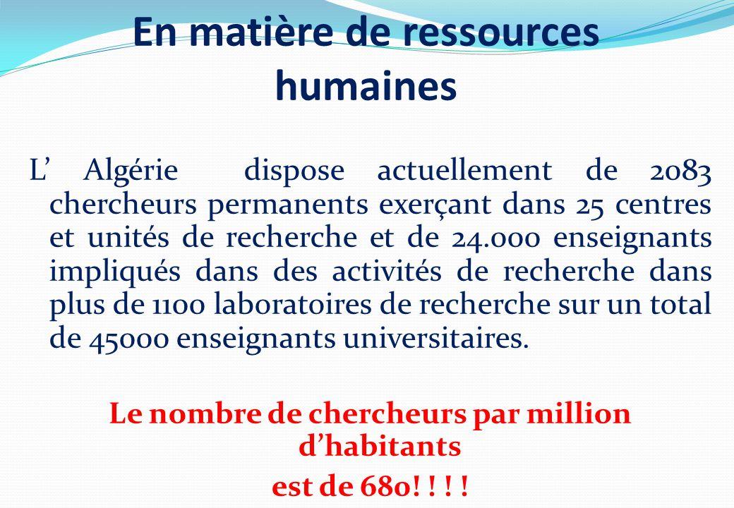 L Algérie dispose actuellement de 2083 chercheurs permanents exerçant dans 25 centres et unités de recherche et de 24.000 enseignants impliqués dans d