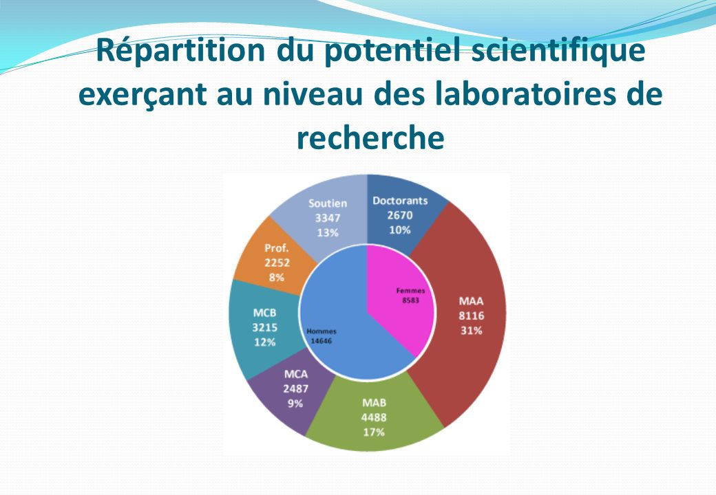 Répartition du potentiel scientifique exerçant au niveau des laboratoires de recherche
