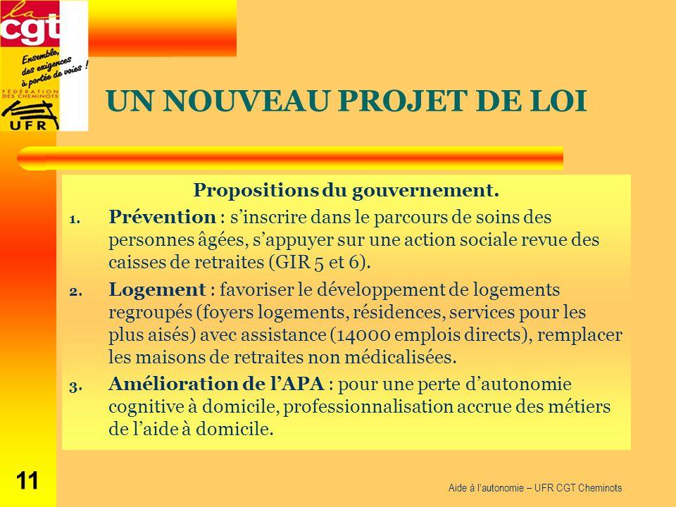 Propositions du gouvernement. 1.