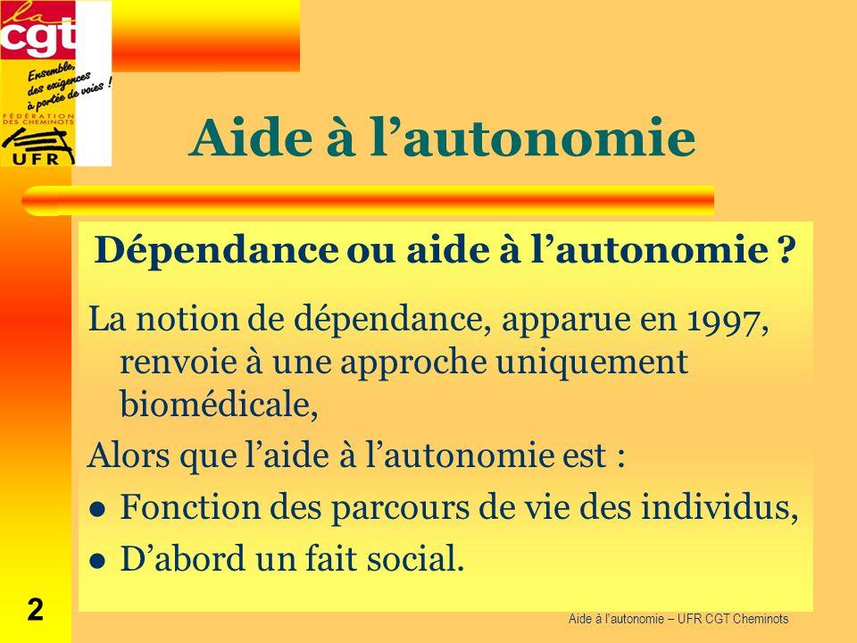 Aide à lautonomie Dépendance ou aide à lautonomie ? La notion de dépendance, apparue en 1997, renvoie à une approche uniquement biomédicale, Alors que