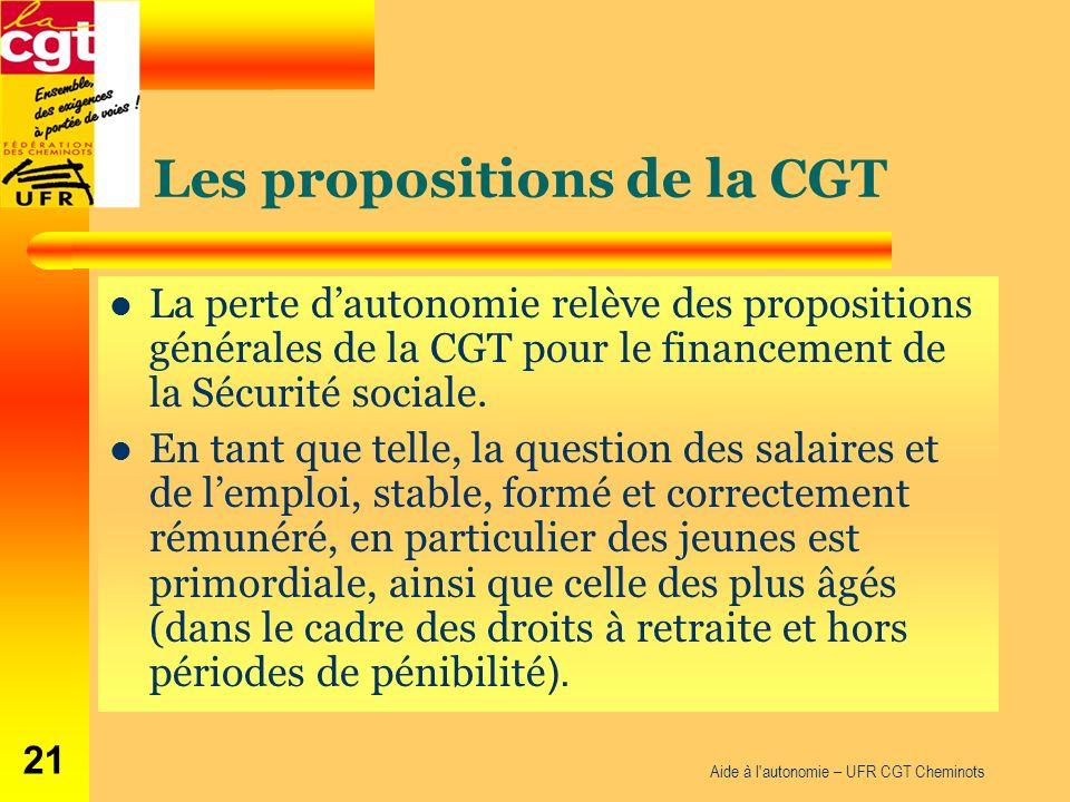 Les propositions de la CGT La perte dautonomie relève des propositions générales de la CGT pour le financement de la Sécurité sociale. En tant que tel