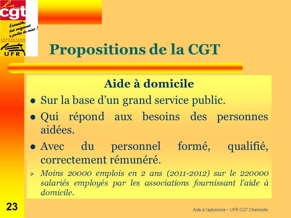 Propositions de la CGT Aide à domicile Sur la base dun grand service public. Qui répond aux besoins des personnes aidées. Avec du personnel formé, qua