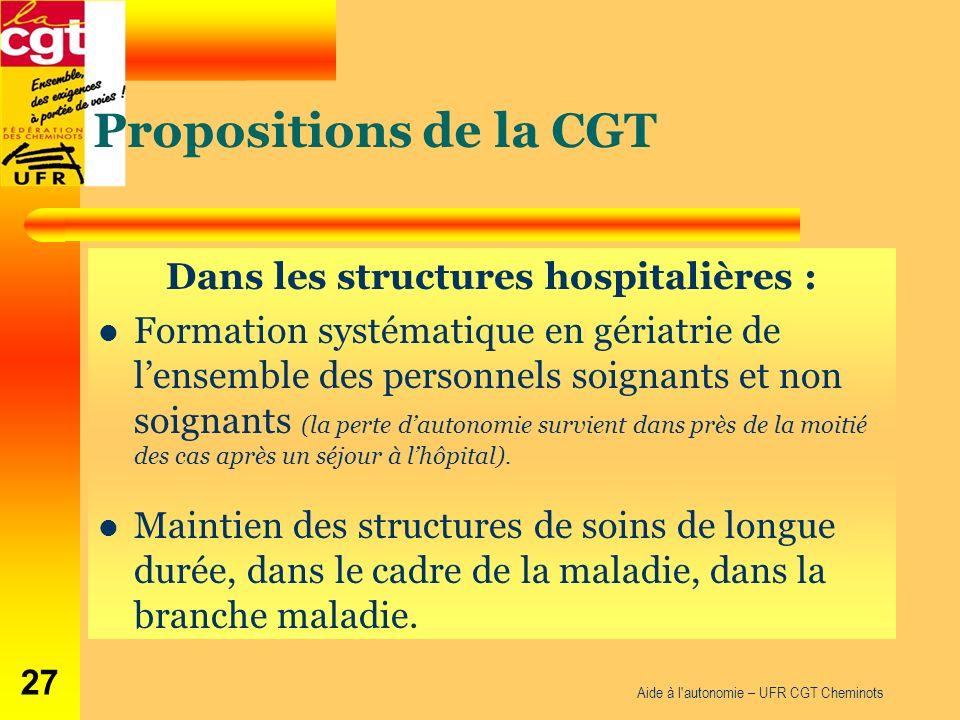 Propositions de la CGT Dans les structures hospitalières : Formation systématique en gériatrie de lensemble des personnels soignants et non soignants (la perte dautonomie survient dans près de la moitié des cas après un séjour à lhôpital).
