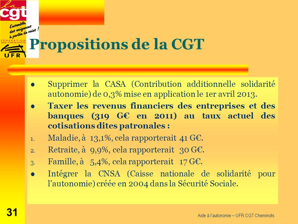 Propositions de la CGT Supprimer la CASA (Contribution additionnelle solidarité autonomie) de 0,3% mise en application le 1er avril 2013.