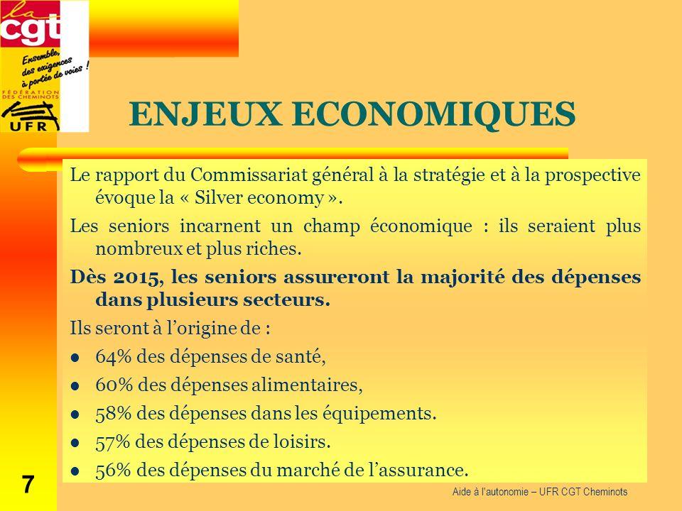 ENJEUX ECONOMIQUES Le rapport du Commissariat général à la stratégie et à la prospective évoque la « Silver economy ». Les seniors incarnent un champ