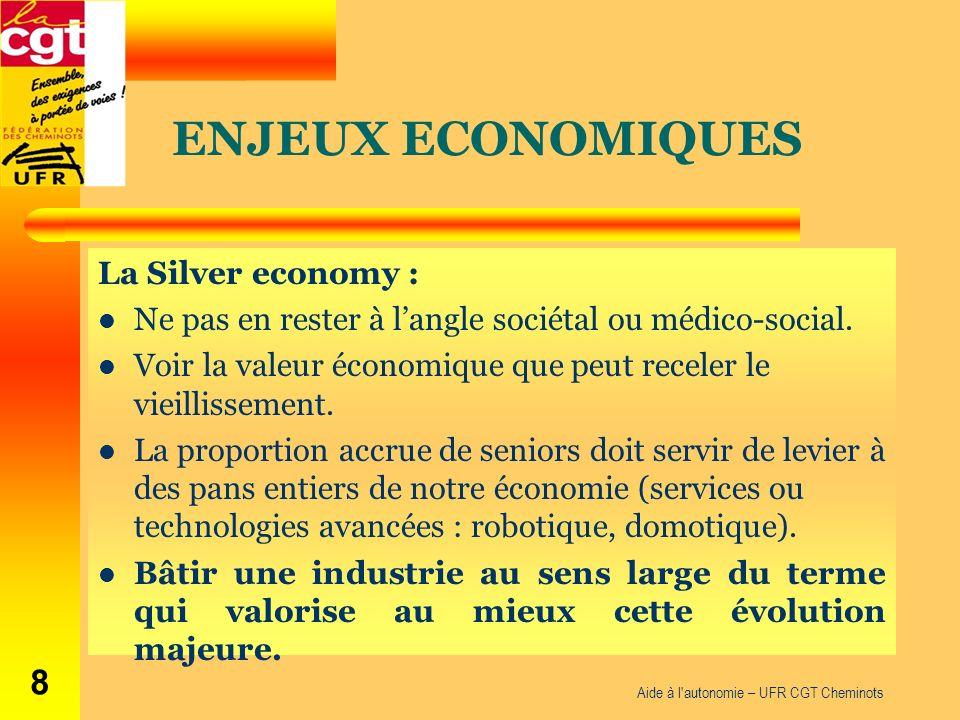 La Silver economy : Ne pas en rester à langle sociétal ou médico-social. Voir la valeur économique que peut receler le vieillissement. La proportion a
