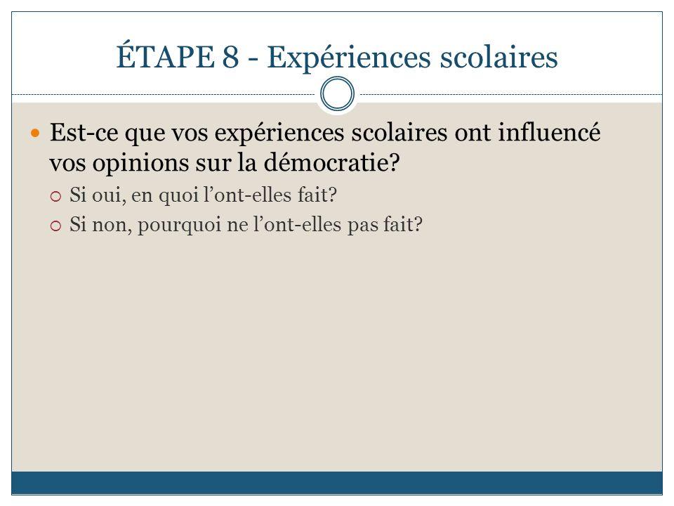 ÉTAPE 8 - Expériences scolaires Est-ce que vos expériences scolaires ont influencé vos opinions sur la démocratie? Si oui, en quoi lont-elles fait? Si