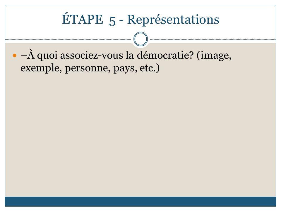 ÉTAPE 5 - Représentations –À quoi associez-vous la démocratie? (image, exemple, personne, pays, etc.)