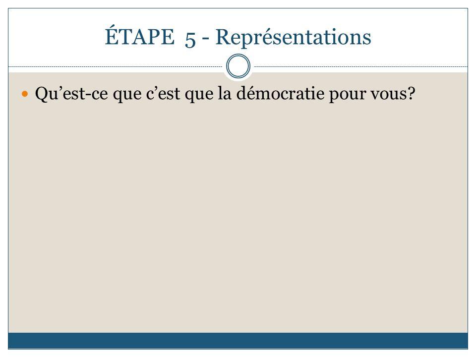 ÉTAPE 5 - Représentations Quest-ce que cest que la démocratie pour vous?