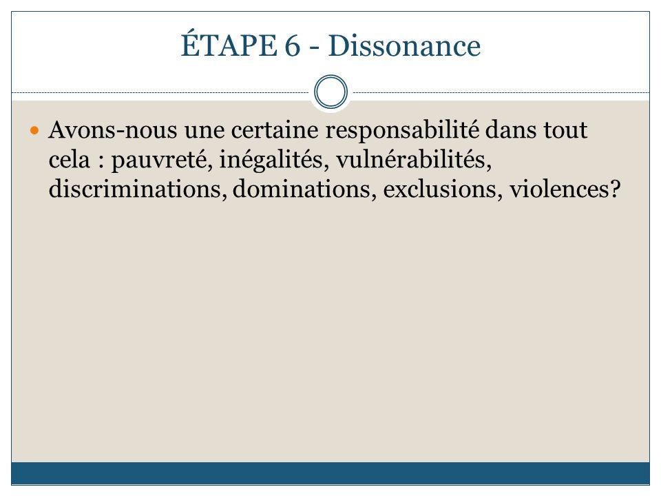 ÉTAPE 6 - Dissonance Avons-nous une certaine responsabilité dans tout cela : pauvreté, inégalités, vulnérabilités, discriminations, dominations, exclusions, violences?