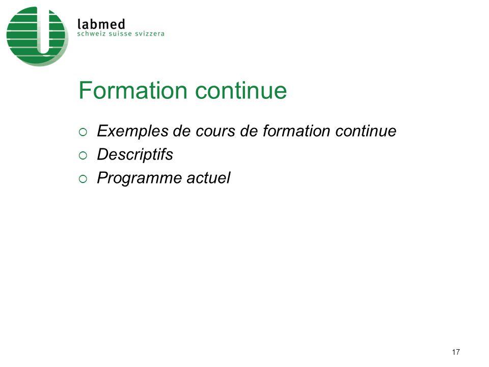 17 Formation continue Exemples de cours de formation continue Descriptifs Programme actuel