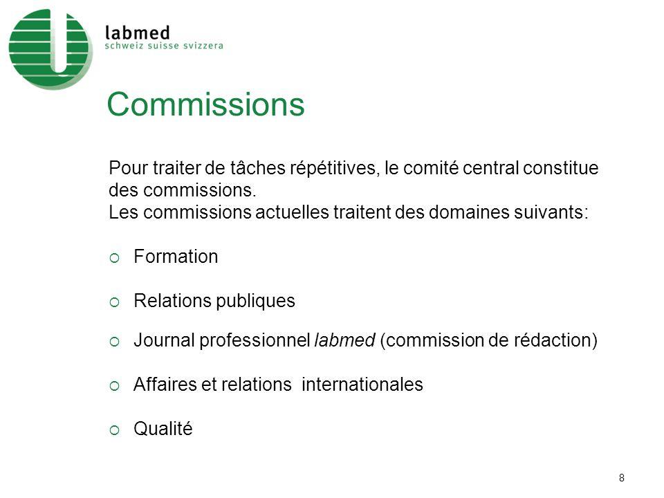 8 Commissions Pour traiter de tâches répétitives, le comité central constitue des commissions.