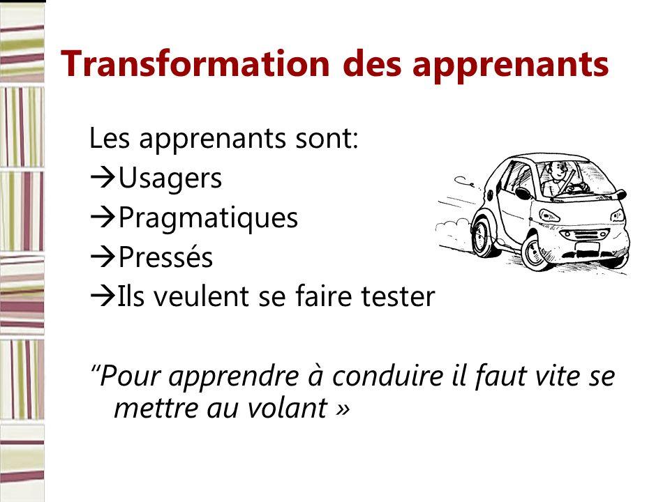 Transformation des apprenants Les apprenants sont: Usagers Pragmatiques Pressés Ils veulent se faire tester Pour apprendre à conduire il faut vite se