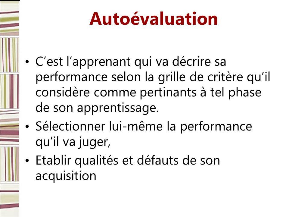 Autoévaluation Cest lapprenant qui va décrire sa performance selon la grille de critère quil considère comme pertinants à tel phase de son apprentissa