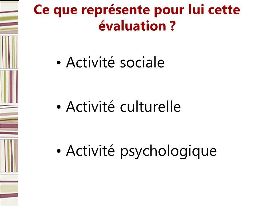 Ce que représente pour lui cette évaluation ? Activité sociale Activité culturelle Activité psychologique