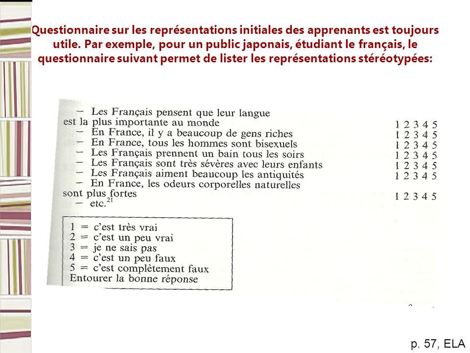 Questionnaire sur les représentations initiales des apprenants est toujours utile. Par exemple, pour un public japonais, étudiant le français, le ques