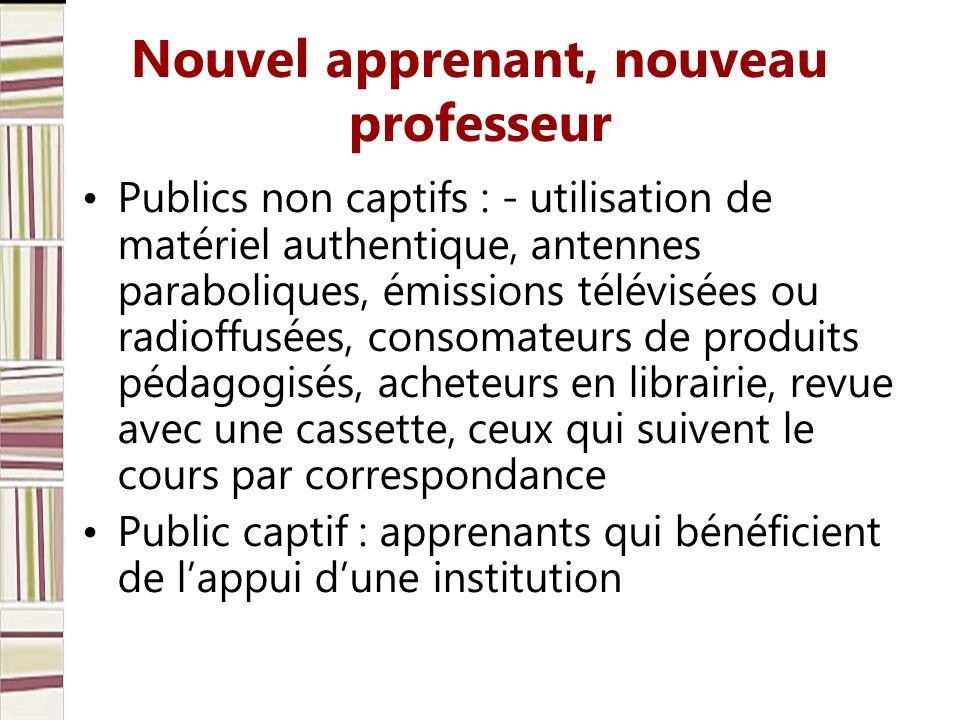 Nouvel apprenant, nouveau professeur Publics non captifs : - utilisation de matériel authentique, antennes paraboliques, émissions télévisées ou radio