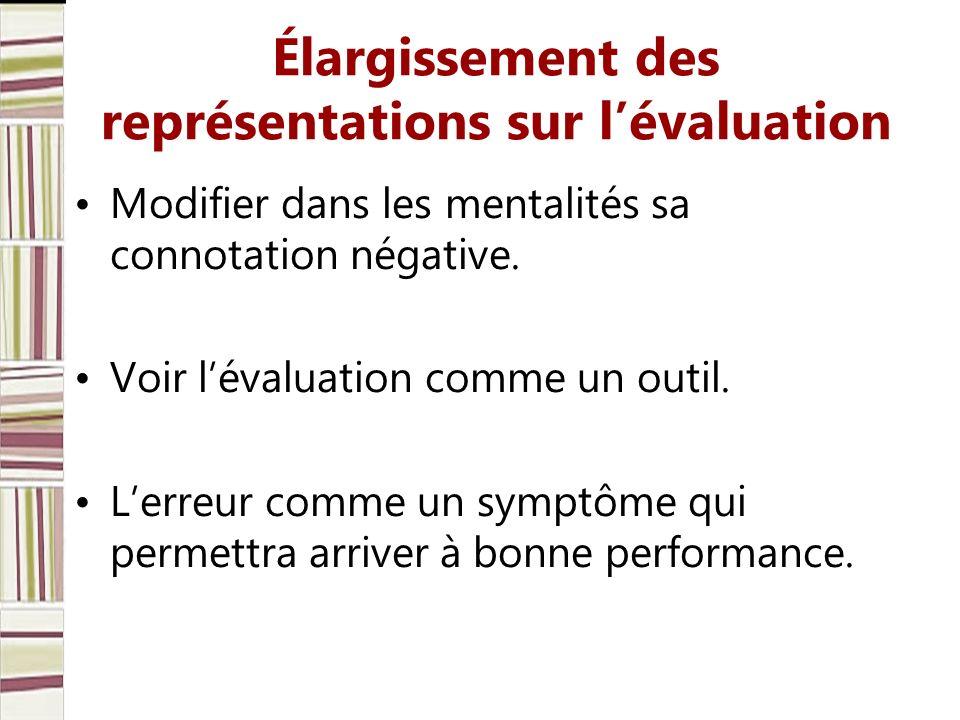 Élargissement des représentations sur lévaluation Modifier dans les mentalités sa connotation négative. Voir lévaluation comme un outil. Lerreur comme