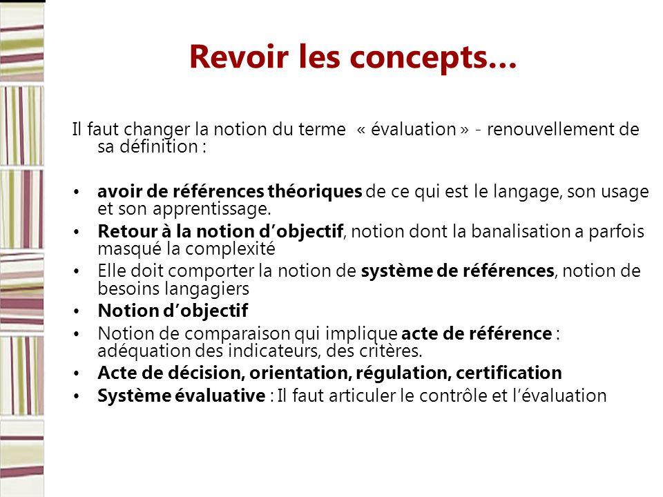 Revoir les concepts… Il faut changer la notion du terme « évaluation » - renouvellement de sa définition : avoir de références théoriques de ce qui est le langage, son usage et son apprentissage.