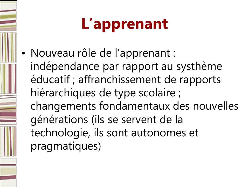 Lapprenant Nouveau rôle de lapprenant : indépendance par rapport au systhème éducatif ; affranchissement de rapports hiérarchiques de type scolaire ;