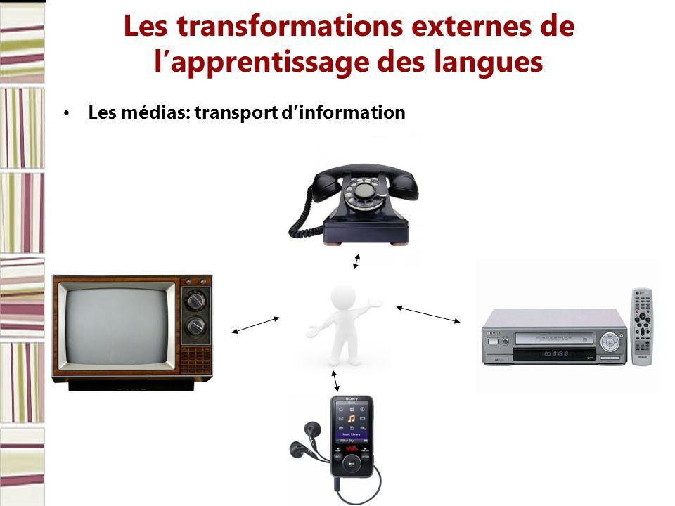 Les transformations externes de lapprentissage des langues Les médias: transport dinformation