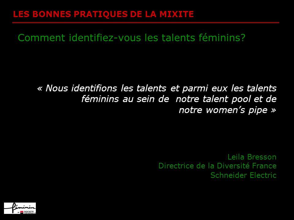 LES BONNES PRATIQUES DE LA MIXITE Comment identifiez-vous les talents féminins? « Nous identifions les talents et parmi eux les talents féminins au se