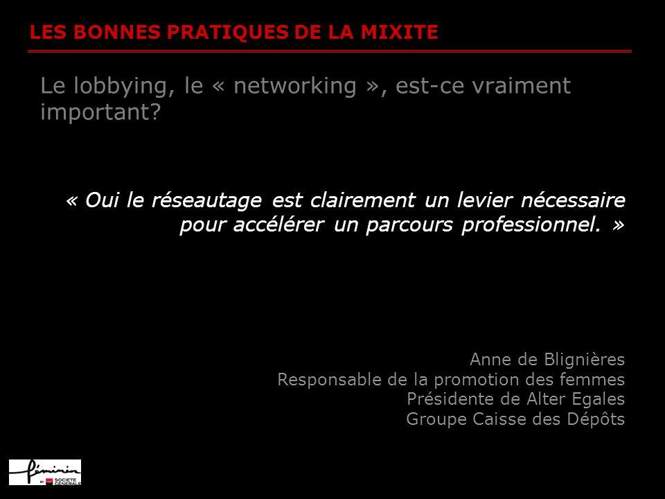 LES BONNES PRATIQUES DE LA MIXITE Le lobbying, le « networking », est-ce vraiment important? « Oui le réseautage est clairement un levier nécessaire p