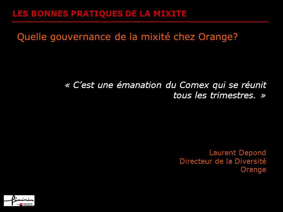 LES BONNES PRATIQUES DE LA MIXITE Quelle gouvernance de la mixité chez Orange? « Cest une émanation du Comex qui se réunit tous les trimestres. » Laur