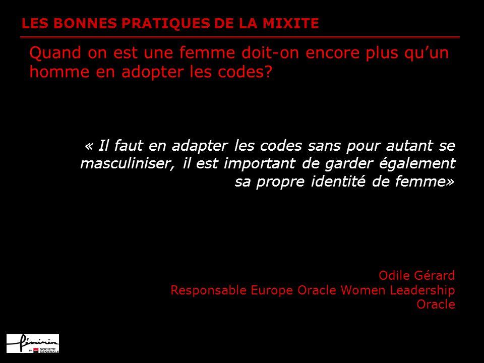 LES BONNES PRATIQUES DE LA MIXITE Quand on est une femme doit-on encore plus quun homme en adopter les codes? « Il faut en adapter les codes sans pour