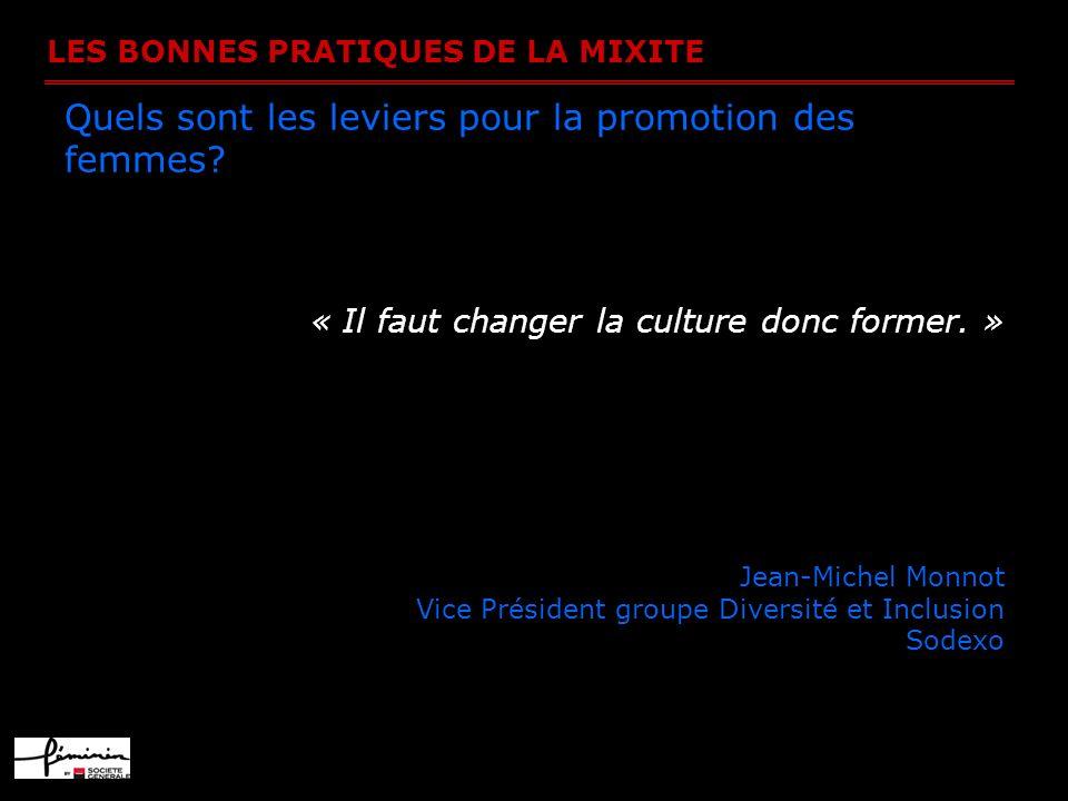 LES BONNES PRATIQUES DE LA MIXITE Quels sont les leviers pour la promotion des femmes? « Il faut changer la culture donc former. » Jean-Michel Monnot