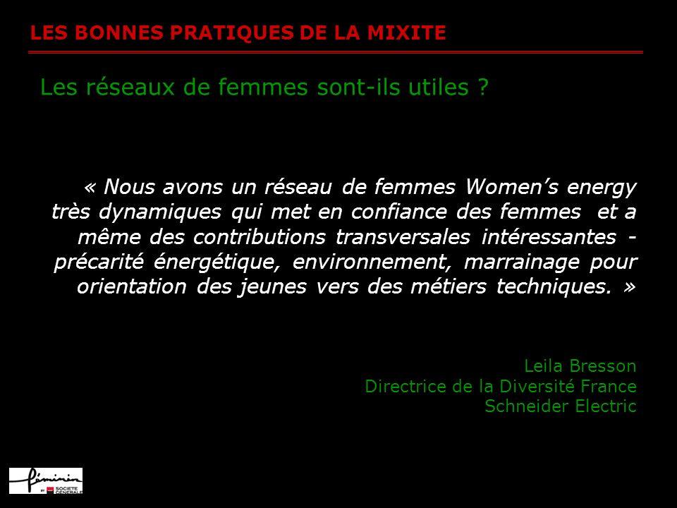 LES BONNES PRATIQUES DE LA MIXITE Les réseaux de femmes sont-ils utiles ? « Nous avons un réseau de femmes Womens energy très dynamiques qui met en co