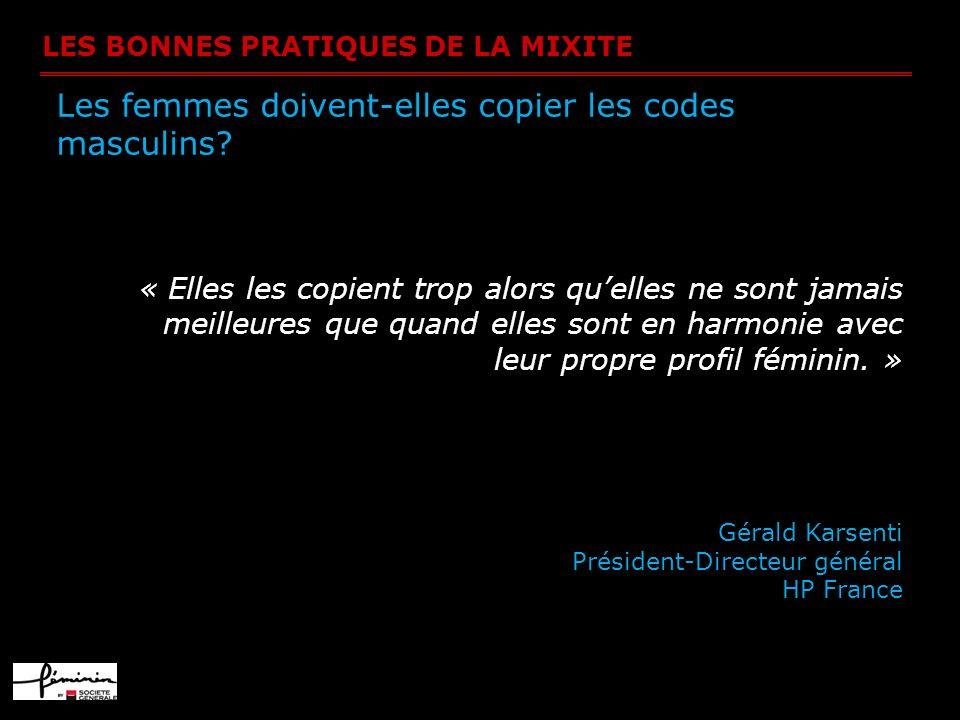 LES BONNES PRATIQUES DE LA MIXITE Les femmes doivent-elles copier les codes masculins.