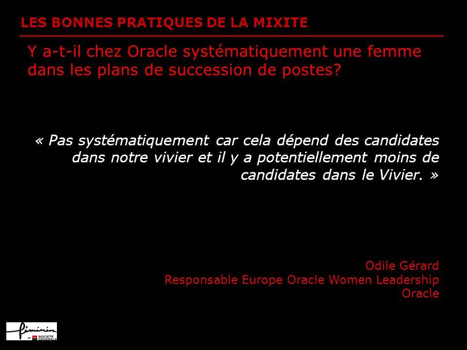 LES BONNES PRATIQUES DE LA MIXITE Y a-t-il chez Oracle systématiquement une femme dans les plans de succession de postes? « Pas systématiquement car c