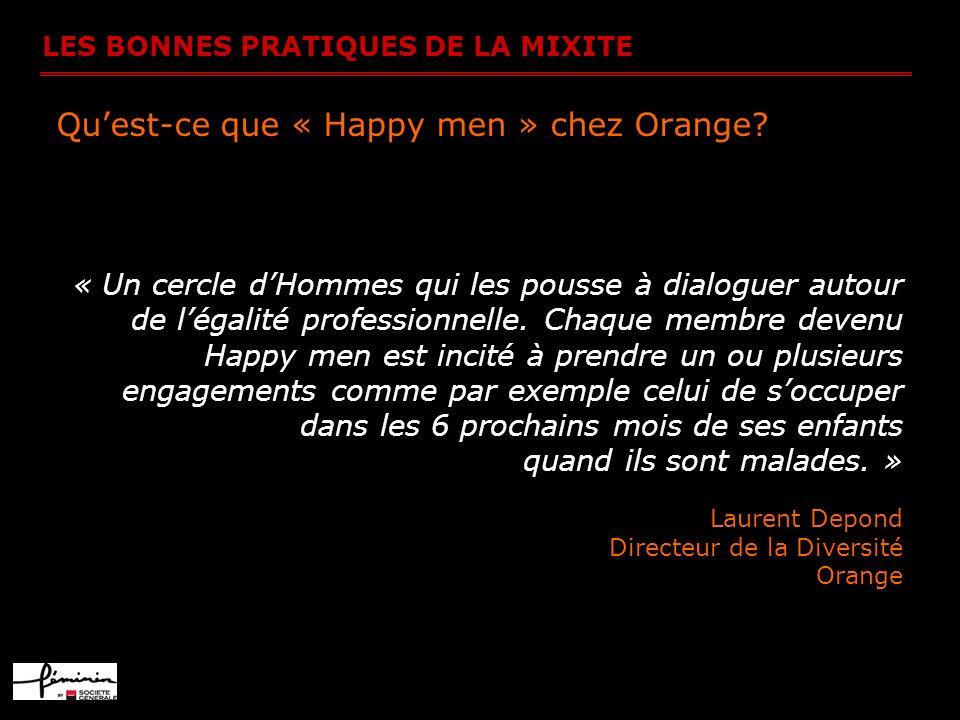 LES BONNES PRATIQUES DE LA MIXITE Quest-ce que « Happy men » chez Orange? « Un cercle dHommes qui les pousse à dialoguer autour de légalité profession