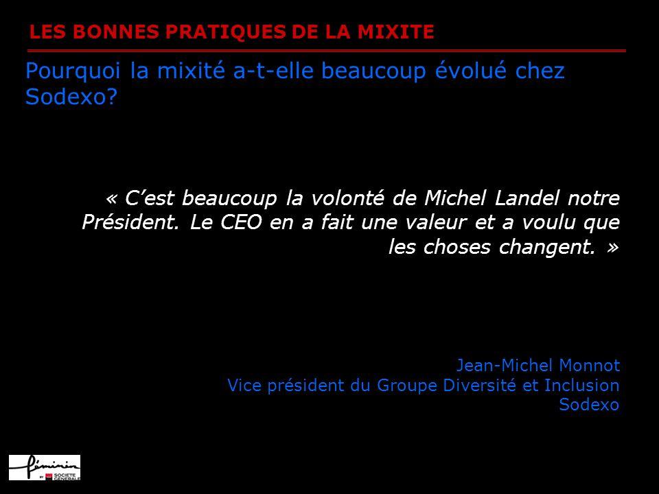 LES BONNES PRATIQUES DE LA MIXITE Pourquoi la mixité a-t-elle beaucoup évolué chez Sodexo? « Cest beaucoup la volonté de Michel Landel notre Président