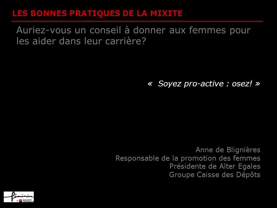 LES BONNES PRATIQUES DE LA MIXITE Auriez-vous un conseil à donner aux femmes pour les aider dans leur carrière? « Soyez pro-active : osez! » Anne de B