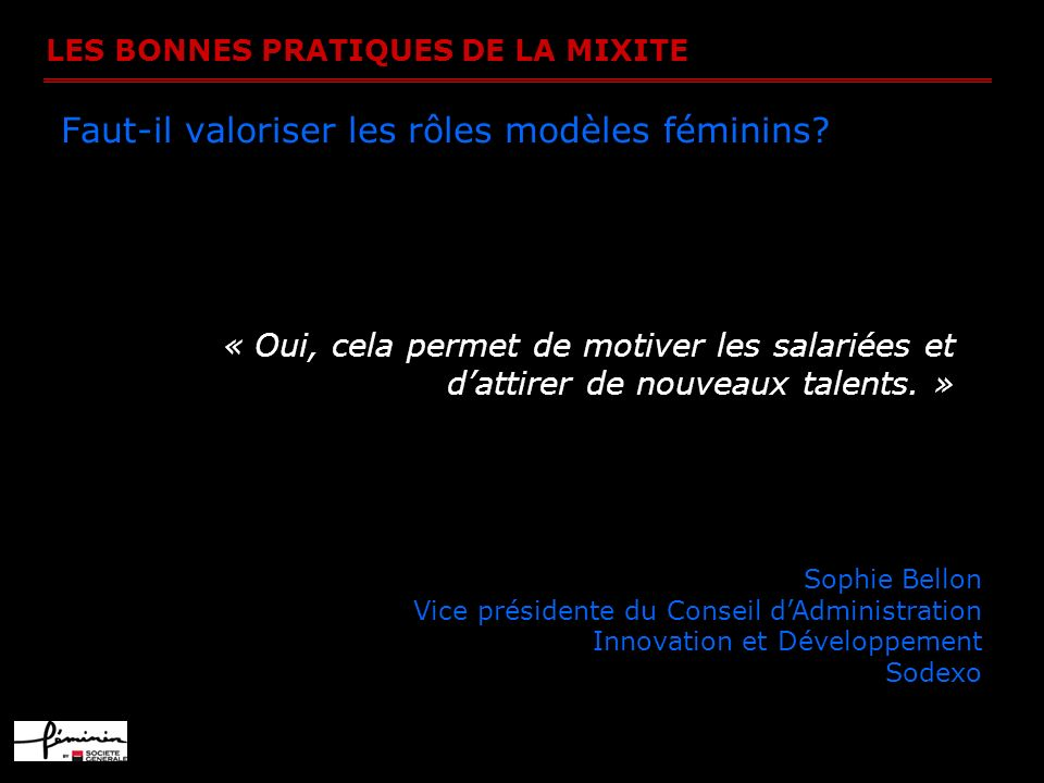LES BONNES PRATIQUES DE LA MIXITE Faut-il valoriser les rôles modèles féminins? « Oui, cela permet de motiver les salariées et dattirer de nouveaux ta