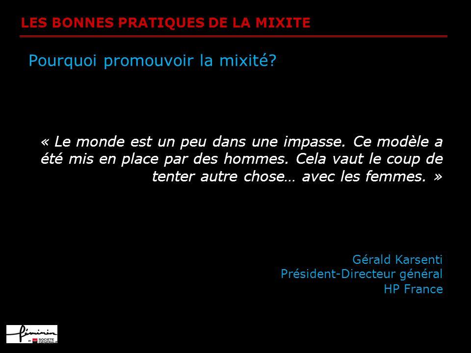 LES BONNES PRATIQUES DE LA MIXITE Pourquoi promouvoir la mixité? « Le monde est un peu dans une impasse. Ce modèle a été mis en place par des hommes.