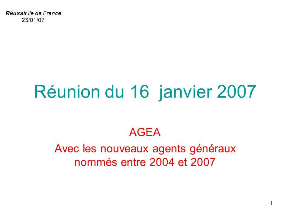 1 Réunion du 16 janvier 2007 AGEA Avec les nouveaux agents généraux nommés entre 2004 et 2007 Réussir Ile de France 23/01/07