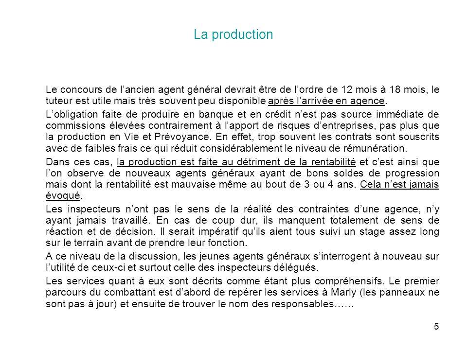 5 La production Le concours de lancien agent général devrait être de lordre de 12 mois à 18 mois, le tuteur est utile mais très souvent peu disponible après larrivée en agence.